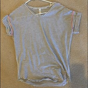 LULULEMON black and white striped athletic top